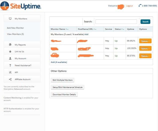 siteuptime control panel review