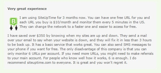 siteuptime users testimonials