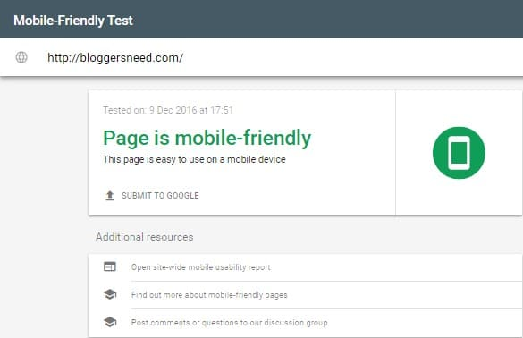 bloggersneed google mobile friendly test