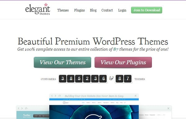 elegant themes wordpress themes provider