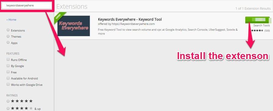 installing keywordseverywhere extension