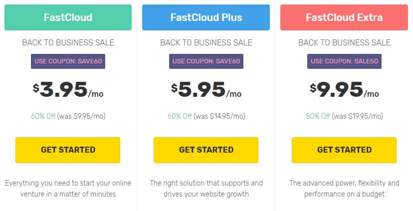 Fastcomet shared hosting pricing Plans
