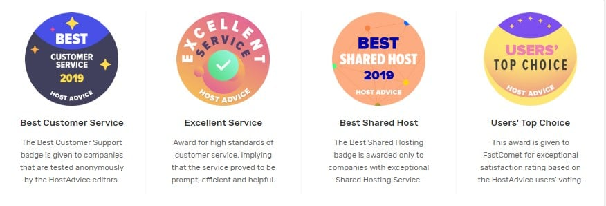 Fastcomet multiple awards from best reviewers