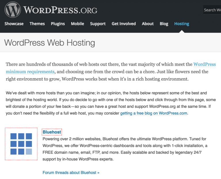 Bluehost WordPress Recommended host