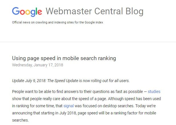 Google Speed Ranking Factor