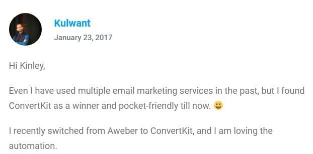 ConvertKit User Testimonial
