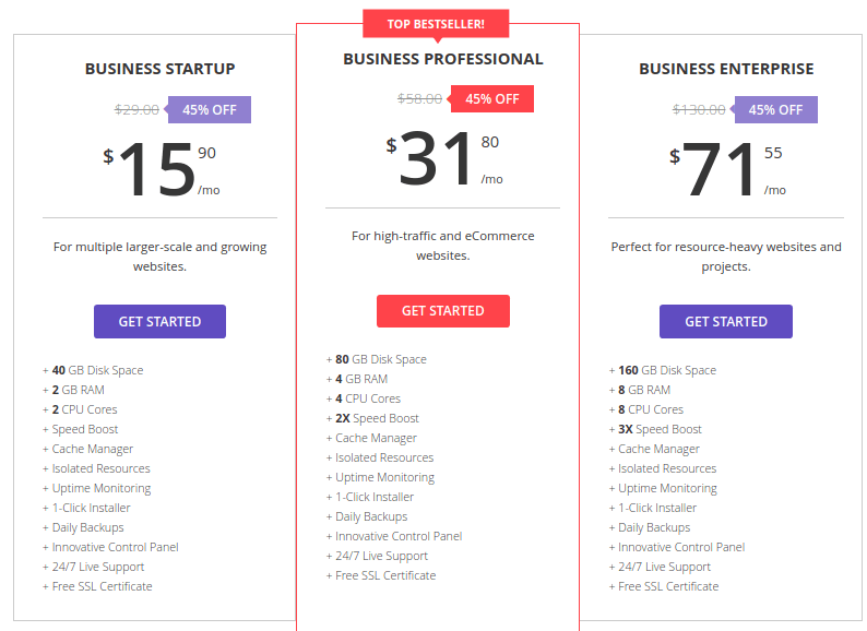 Hostinger Business hosting plans details image