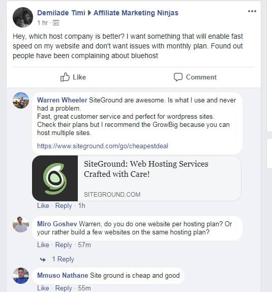SiteGround Vs Bluehost Facebook discussions