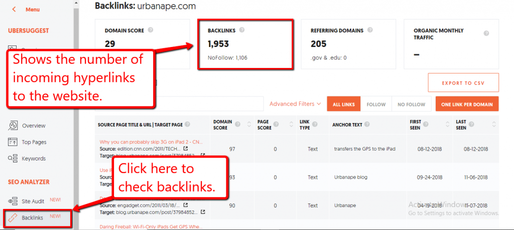 checking backlinks