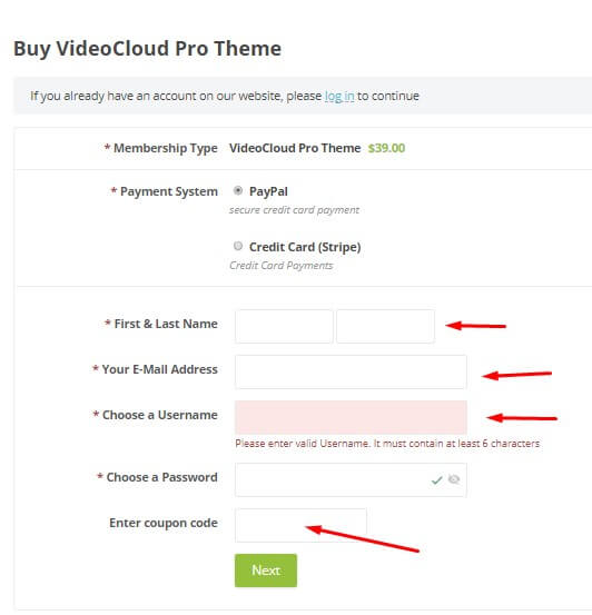 Creating account and entering discount code