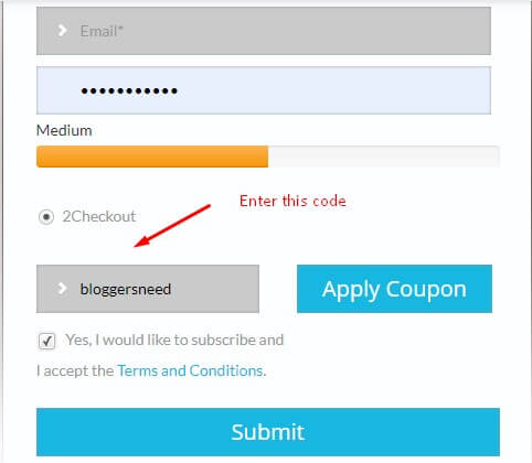 Serpcloud promo code appying box image