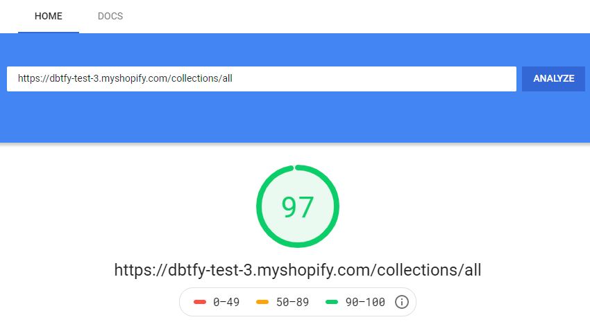 debutify theme speed Test results by Google speed check tool