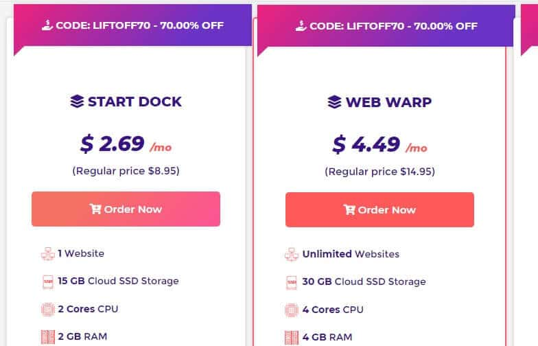 promo code and order page Host armada