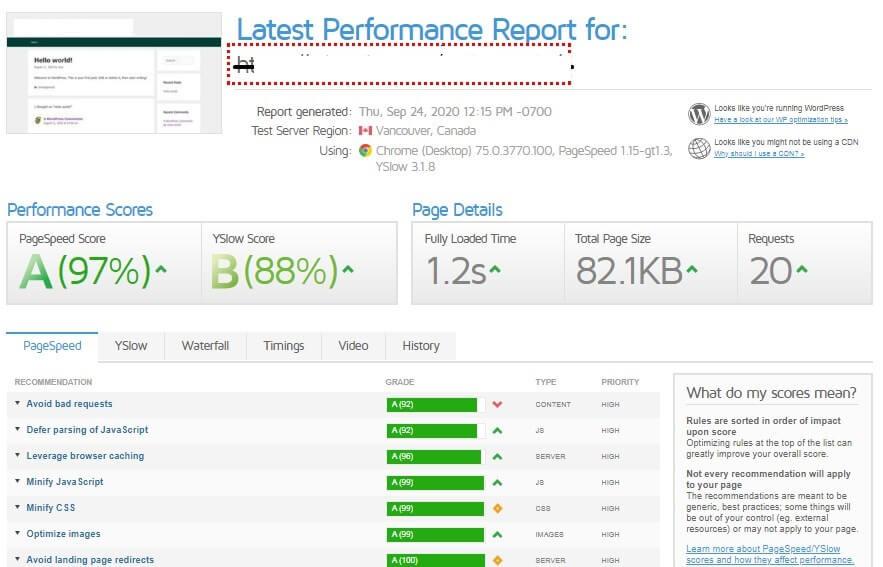 website speed test results hostarmada