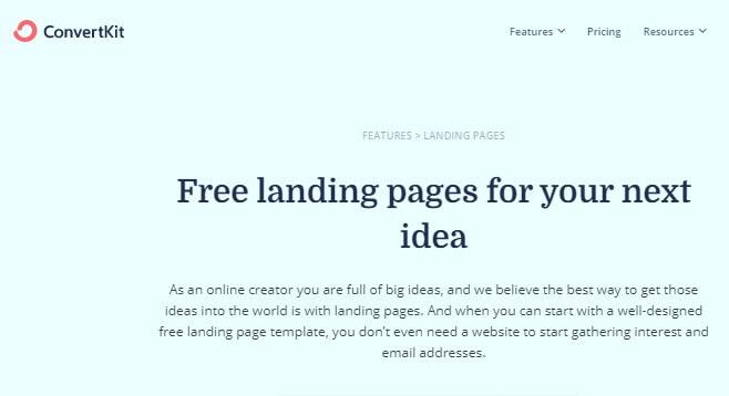 convertkit free landing page software